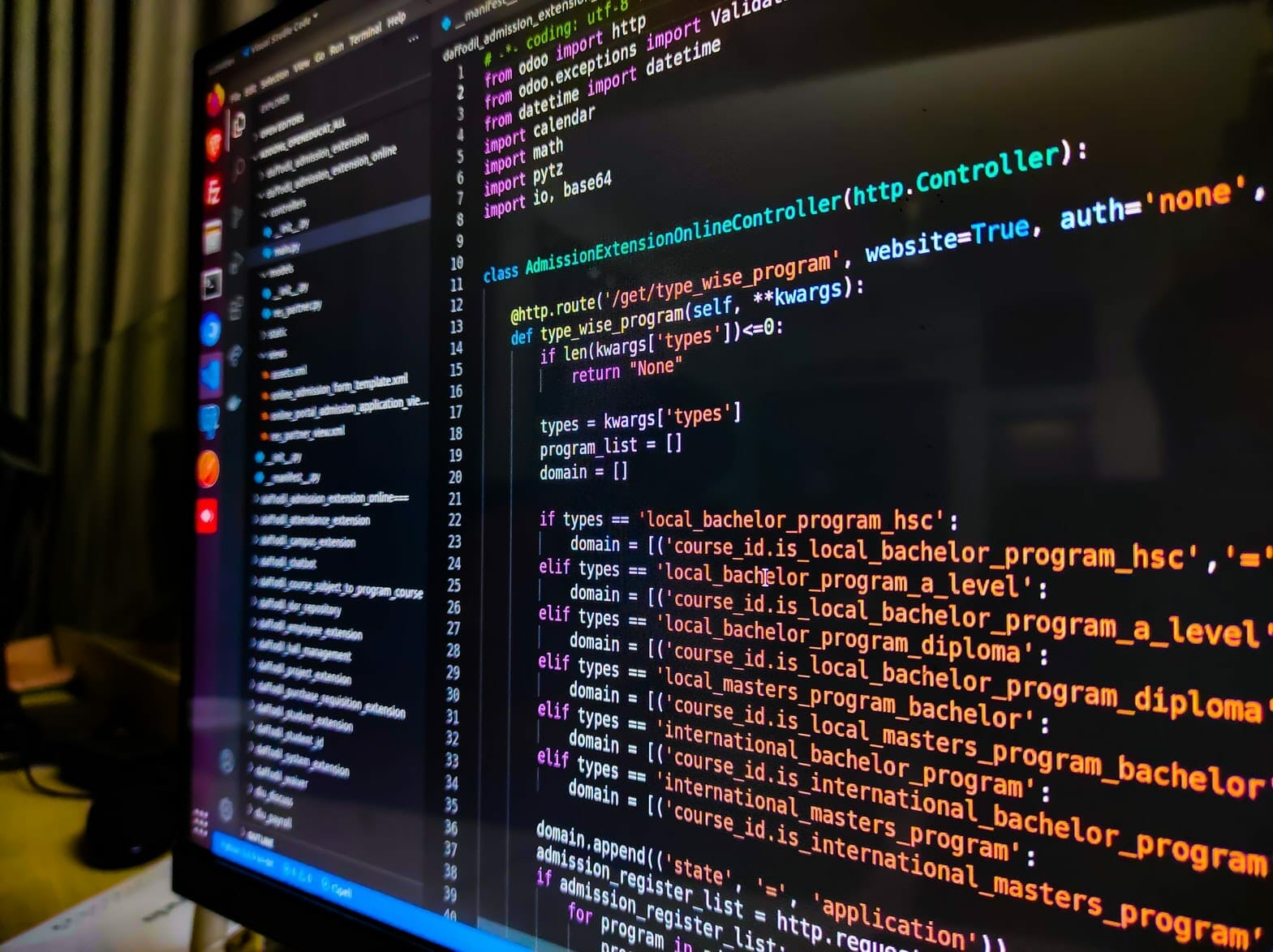 Code background on the screen