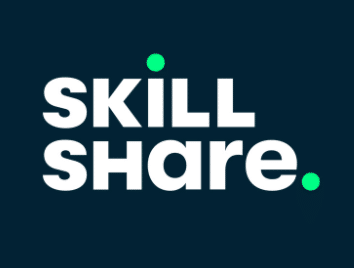 skill share logo on dark blue background